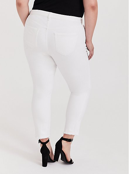 High Rise Straight Jean - White with Raw Hem, OPTIC WHITE, alternate