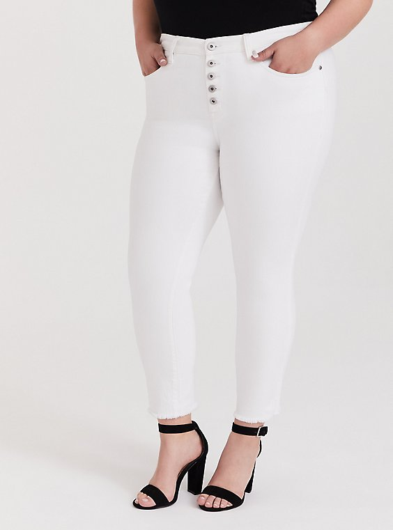 High Rise Straight Jean - White with Raw Hem, , hi-res
