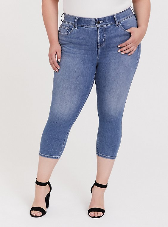 Plus Size Crop Bombshell Skinny Jean – Premium Stretch Medium Wash, , hi-res