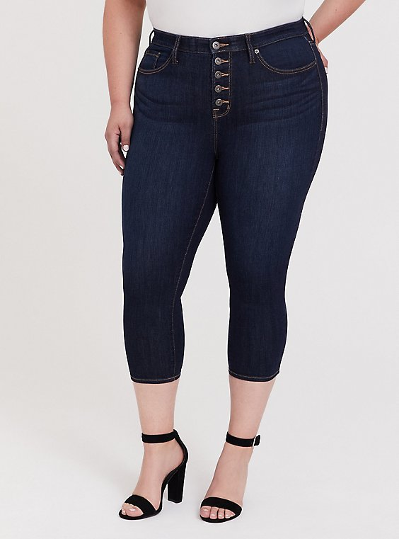 Plus Size Crop Sky High Skinny Jean – Premium Stretch Dark Wash, , hi-res