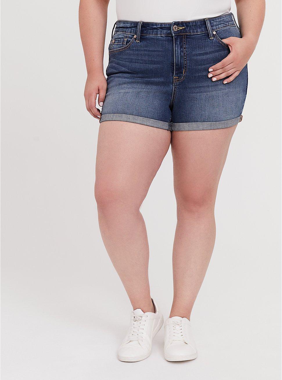 High Rise Short Short - Vintage Stretch Medium Wash, HANG TEN, hi-res