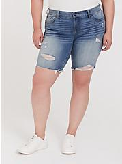 Plus Size Low Rise Bermuda Short – Vintage Stretch Medium Wash, SARDEGNA, hi-res