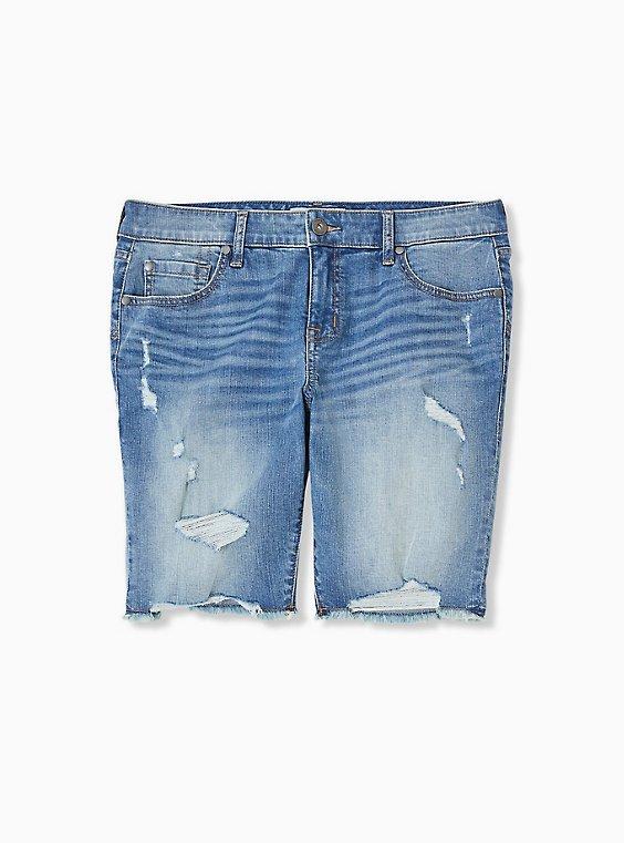 Low Rise Bermuda Short – Vintage Stretch Medium Wash, SARDEGNA, ls