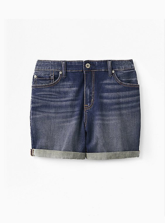 Plus Size High Rise Mid Short - Vintage Stretch Dark Wash, , flat