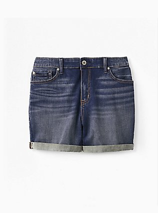 High Rise Mid Short - Vintage Stretch Dark Wash, HUSTLER, flat