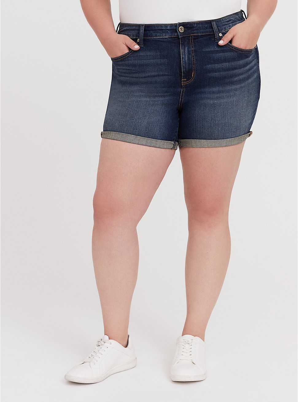 High Rise Mid Short - Vintage Stretch Dark Wash, HUSTLER, hi-res