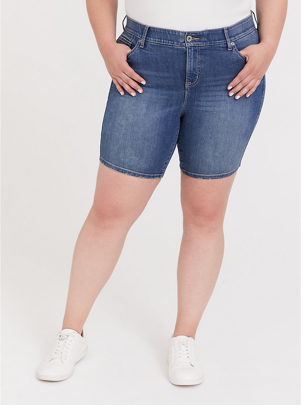 Bombshell Skinny Bermuda Short - Premium Stretch Medium Wash, GREENWICH, hi-res