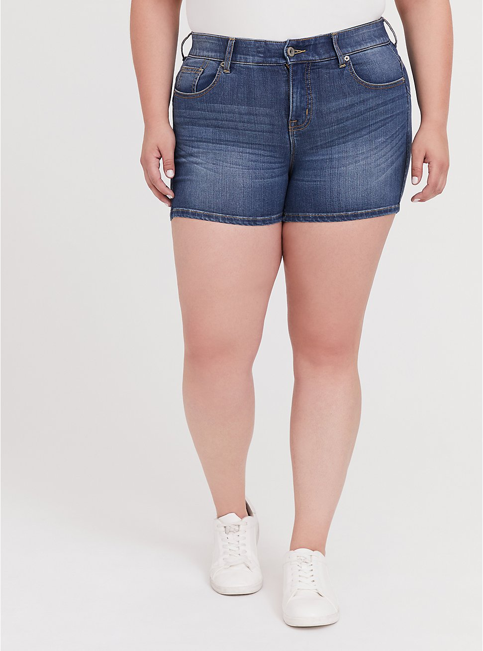 Bombshell Skinny Short Short - Premium Stretch Medium Wash, , hi-res