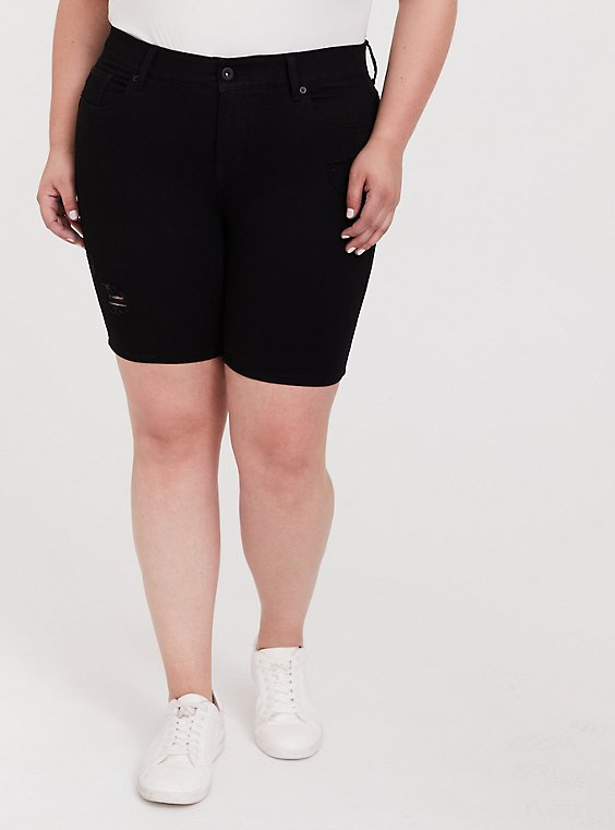 Plus Size Bombshell Bermuda Short - Premium Stretch Black, BLACK, hi-res