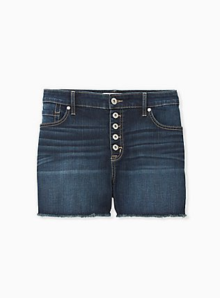 High Rise Short Short - Vintage Stretch Dark Wash, SIPPING TEA, flat