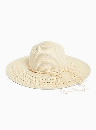 Ivory Straw Floppy Hat, IVORY, alternate