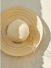 Ivory Straw Floppy Hat, IVORY, hi-res
