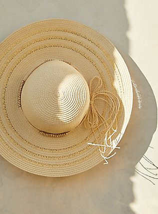 Ivory Straw Floppy Hat, IVORY, pdped