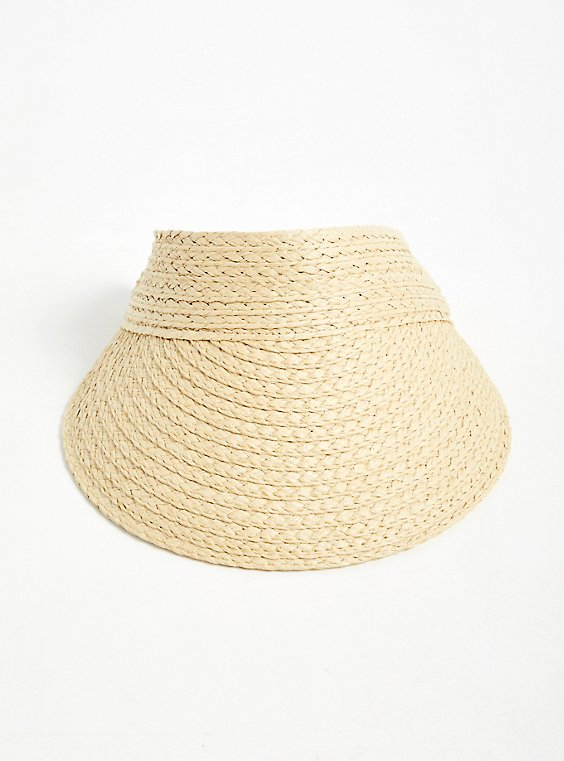 Plus Size Tan Straw Visor, , hi-res