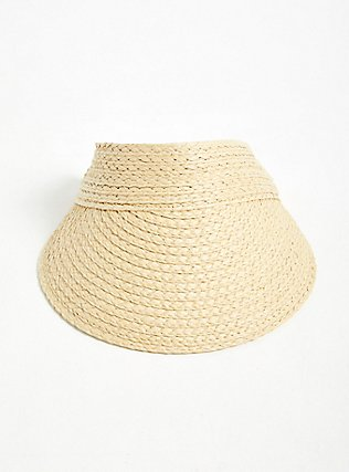 Tan Straw Visor, NATURAL, hi-res