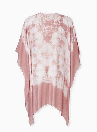 Dusty Pink Tie Dye Ruana, , alternate