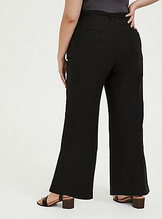 Black Linen Self Tie Wide Leg Pant, DEEP BLACK, alternate