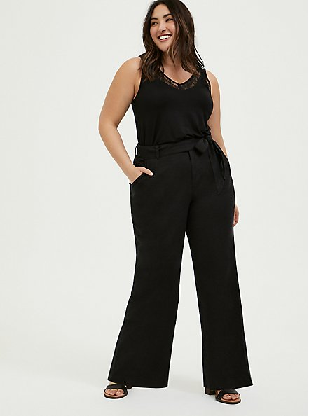 Black Linen Self Tie Wide Leg Pant, DEEP BLACK, alternate