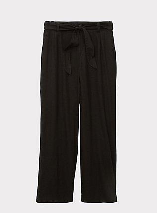 Black Linen Self Tie Wide Leg Pant, DEEP BLACK, flat