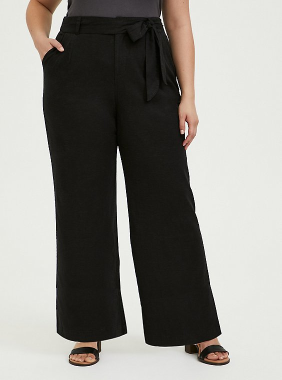 Plus Size Black Linen Self Tie Wide Leg Pant, , hi-res
