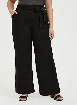 Black Linen Self Tie Wide Leg Pant, DEEP BLACK, hi-res