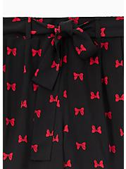 Disney Minnie Mouse Bow Black Challis Self Tie Mid Short, MINNIE, alternate