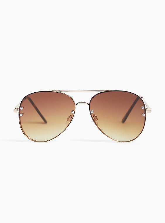 Plus Size Gold-Tone Rimless Aviator Sunglasses, , hi-res