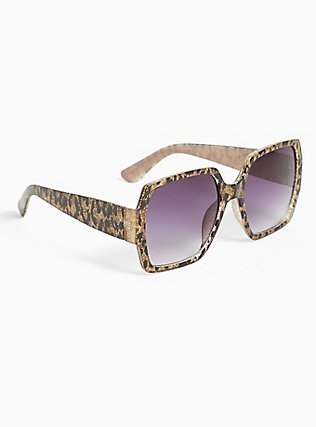 Leopard Glitter Oversized Sunglasses, , alternate