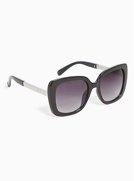 Plus Size Black Rectangle & Silver-Tone Temple Sunglasses, , alternate