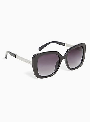 Black Rectangle & Silver-Tone Temple Sunglasses, , alternate