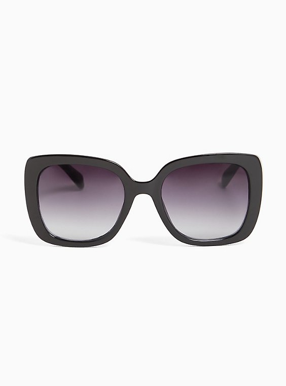 Plus Size Black Rectangle & Silver-Tone Temple Sunglasses, , hi-res