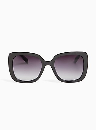 Black Rectangle & Silver-Tone Temple Sunglasses, , hi-res