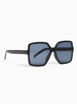Black Square Shield Sunglasses, , alternate