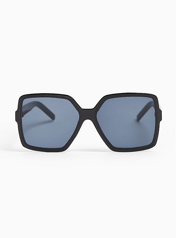 Plus Size Black Square Shield Sunglasses, , hi-res