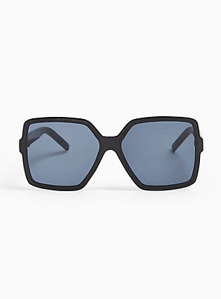 Black Square Shield Sunglasses, , hi-res