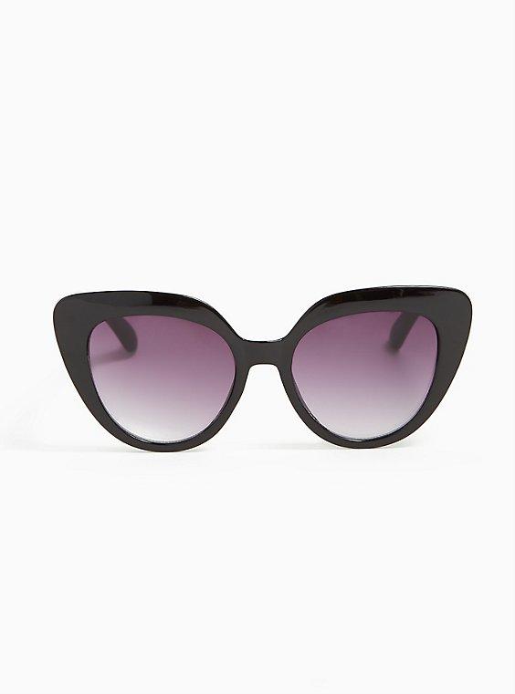Plus Size Black Cat Eye Sunglasses, , hi-res