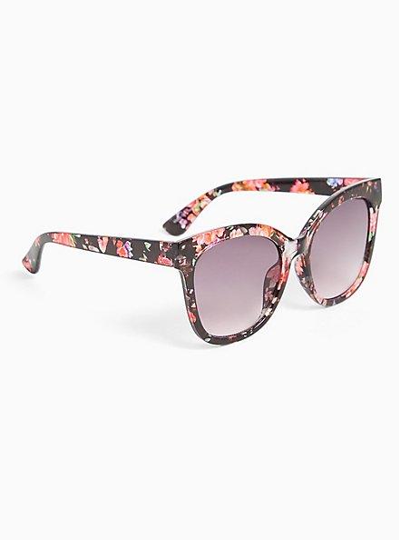 Plus Size Black Floral Cat Eye Sunglasses, , alternate
