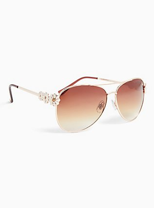 Gold-Tone Daisy Aviator Sunglasses, , alternate