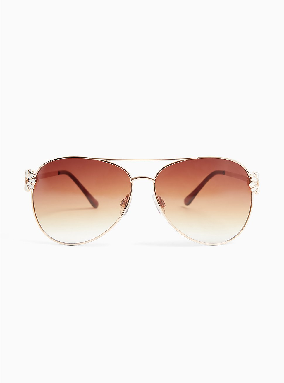 Plus Size Gold-Tone Daisy Aviator Sunglasses, , hi-res