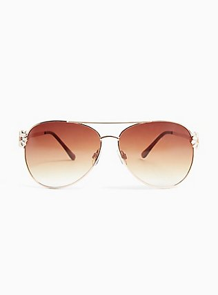 Gold-Tone Daisy Aviator Sunglasses, , hi-res