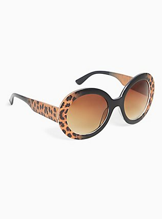 Black & Cheetah Oval Sunglasses, , alternate