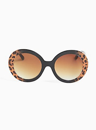 Black & Cheetah Oval Sunglasses, , hi-res