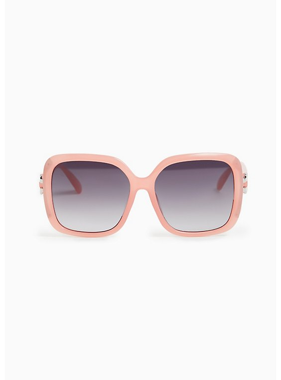 Plus Size Pink Oversize Square Sunglasses, , hi-res