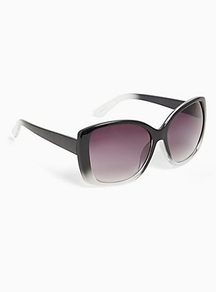 Black Faded Rectangle Sunglasses, , alternate