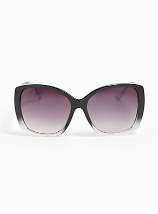 Black Faded Rectangle Sunglasses, , hi-res