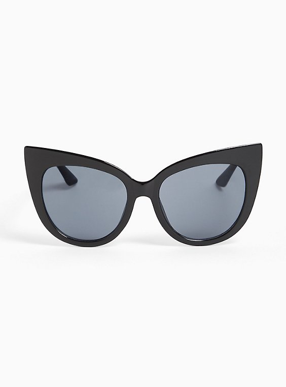 Plus Size Black Cat Eye Sunglasses, , hi-res