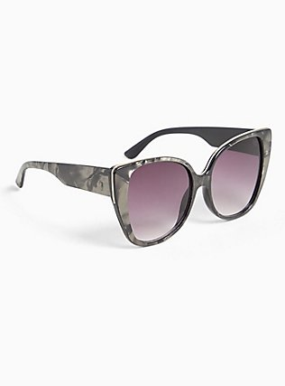 Grey Marble Cat Eye Sunglasses, , alternate