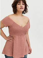 Dusty Pink Textured Smocked Off Shoulder Babydoll Top, ASH ROSE, hi-res