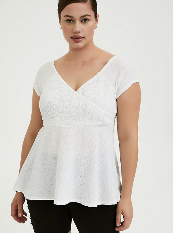 Plus Size White Textured Smocked Off Shoulder Babydoll Top, , hi-res