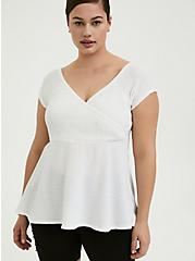 White Textured Smocked Off Shoulder Babydoll Top, BRIGHT WHITE, hi-res